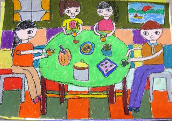 """Cách vẽ tranh đề tài """"Gia đình em """" cho học sinh tiểu học"""