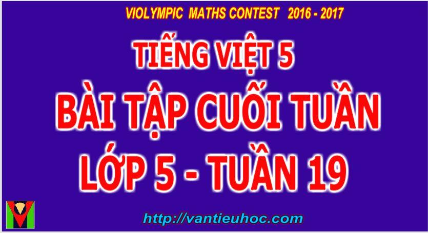 Vietnamese Grade 5 Week 19 | Bài tập cuối tuần  Môn Tiếng Việt  Lớp 5 Tuần 19
